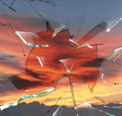 Surise through broken glass
