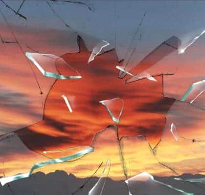 Surise through broken glass